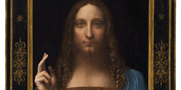 """""""Salvator Mundi,"""" an ethereal portrait of Jesus Christ which dates to about 1500, the last privately owned Leonardo da Vinci painting."""