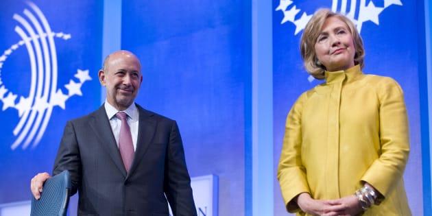 Hillary Clinton et Lloyd Blankfein, le PDG de Goldman Sachs.