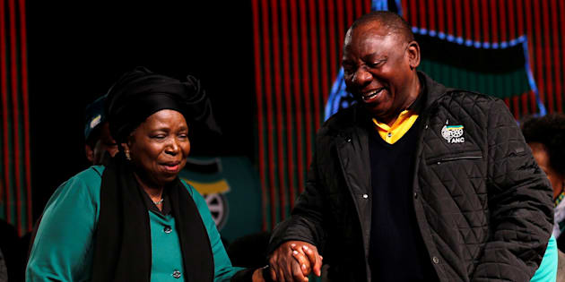 Former African Union chairperson Nkosazana Dlamini-Zuma chats with South Africa's deputy president Cyril Ramaphosa.
