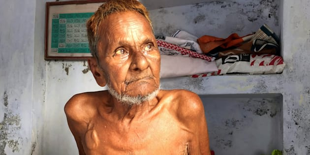File photo of Mohammad Hashim Ansari, the oldest litigant in a case seeking to preserve Muslim claim on a disputed religious site, sitting inside his house at a Muslim neighbourhood in Ayodhya.
