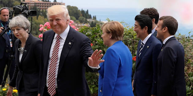 Theresa May, Donald Trump, Angela Merkel, Shinzo Abe, Justin Trudeau et Emmanuel Macron au G7 de Taormina en mai 2017. REUTERS/Jonathan Ernst