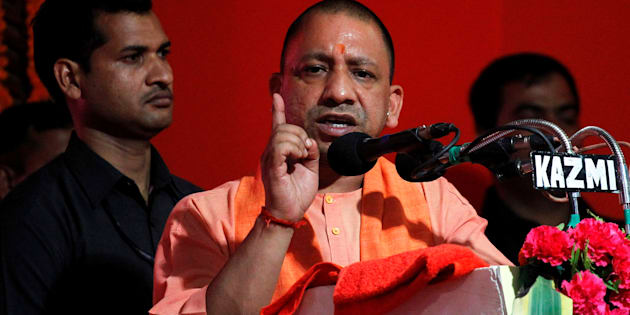 Yogi Adityanath, Chief Minister of India's most populous state of Uttar Pradesh, addresses the audience after inaugurating power projects in Allahabad, India, June 4, 2017. REUTERS/Jitendra Prakash