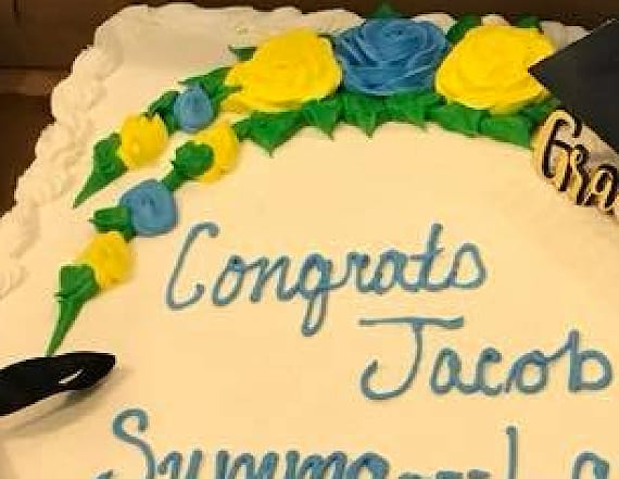 Grocery chain censored 'profane' phrase on grad cake