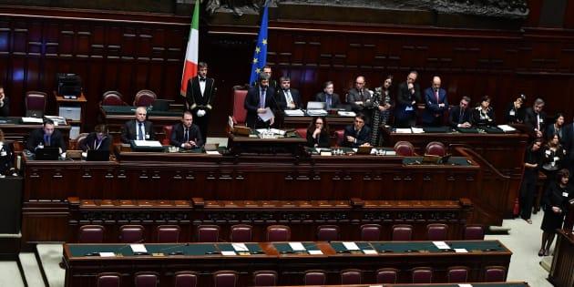 Il neo presidente della Camera Roberto Fico del M5s nell'aula della Camera durante il suo primo intervento a Montecitorio., Roma, 24 marzo 2018. ANSA/ETTORE FERRARI