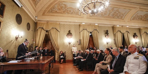 Un momento all'accademia nazionale dei Lincei durante l'adunanza pubblica a classi Riunite per la chiusura dell'anno accademico, Roma 22 giugno 2018. ANSA/GIUSEPPE LAMI