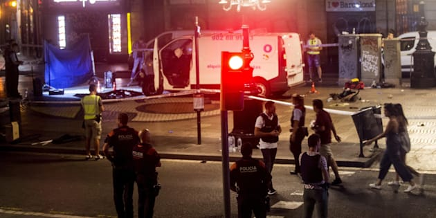 Image of the van used in the attack at the Ramblas in Barcelona, Spain, 17 August 2017.  ANSA/Quique Garca
