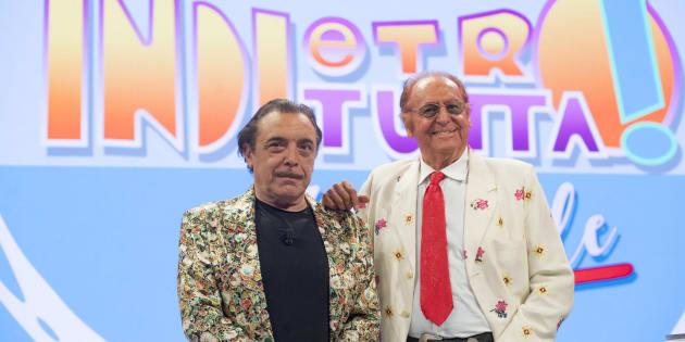 """Nino Frassica (s) e Renzo Arbore durante la registrazione della puntata di """"Indietro tutta 30 e l'ode"""" presso la sede Rai di viale Mazzini a Roma, 7 dicembre 2017. ANSA/CLAUDIO PERI"""