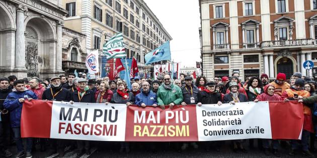 Un momento della manifestazione indetta dall'ANPI ''Mai piu' fascismo'', Roma, 24 febbraio 2018. ANSA/GIUSEPPE LAMI