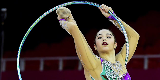 epa05974586 Alexandra Agiurgiuculese of Italy performs with the hoop during the individual qualification round of the 33rd European Rhythmic Gymnastics Championships at Papp Laszlo Budapest Sports Arena in Budapest, Hungary, 19 May 2017.  EPA/TAMAS KOVACS HUNGARY OUT