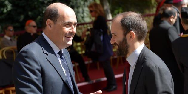 Il presidente della regione Lazio Nicola Zingaretti con il presidente del Partito Democratico, Matteo Orfini    ANSA / ETTORE FERRARI