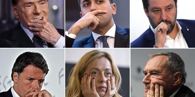 Dall'alto a sinistra Silvio Berlusconi, Luigi Di Maio, Matteo Salvini, Matteo renzi, Giorgia Meloni e Pietro Grasso, Roma 3 marzo 2018 ANSA