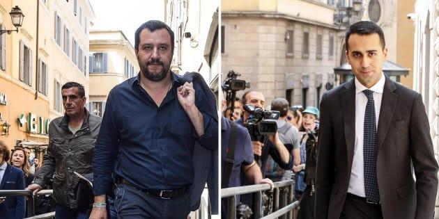 Matteo Salvini e Luigi Di  Maio in una foto combo, Roma 11 maggio 2018 ANSA/ LAMI CARCONI/ANTIMIANI