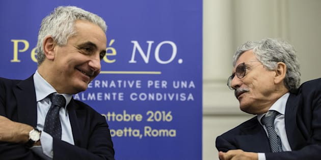 Gaetano Quagliariello (s) e Massimo D'Alema durante il convegno per il No al referendum al residence Ripetta, organizzato dalle rispettive fondazioni, Magna Charta e Italianieuropei, Roma, 12 ottobre 2016. ANSA/ ANGELO CARCONI