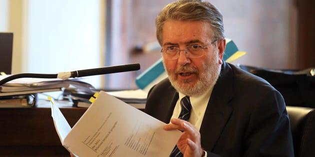 Filippo Penati nell'aula del tribunale di Monza per il processo sul cosiddetto 'Sistema Sesto' che lo vede imputato, 25 novembre 2014.     ANSA / FABRIZIO RADAELLI