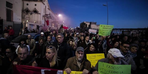 """Un momento della manifestazione """"Uniti per la legalit�"""" contro le mafie, Ostia, Roma, 11 novembre 2017. ANSA/ANGELO CARCONI"""