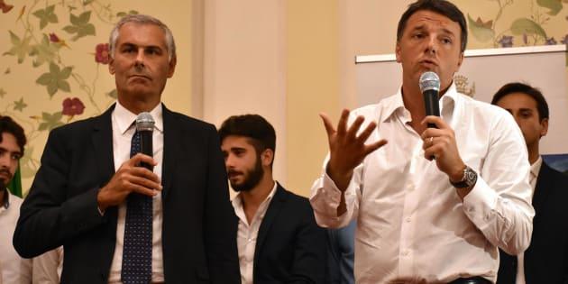 Il segretario del Partito Democratico, Matteo Renzi, a Taormina presenta ufficialmente il candidato alla presidenza della Regione siciliana Fabrizio Micari, 08 settembre 2017. ANSA/ORIETTA SCARDINO