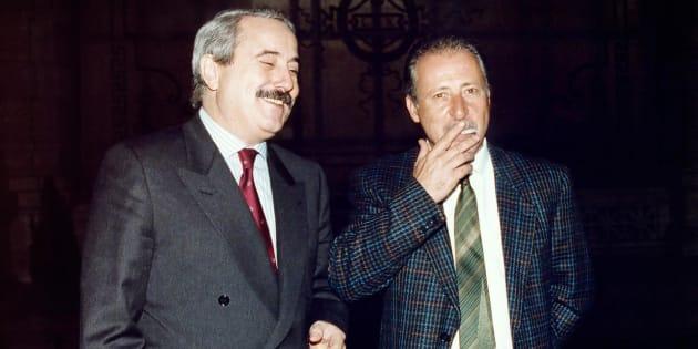 I giudici, Giovanni Falcone e Paolo Borsellino fotografati a Roma in occasione dell'inaugurazione dell'anno giudiziario 1992