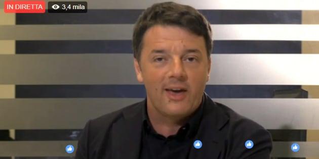 Il fermo immagine mostra Matteo Renzi nel corso della diretta #Matteorisponde, 15 marzo 2017. ANSA/FACEBOOK MATTEO RENZI +++EDITORIAL USE ONLY - NO SALES+++