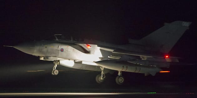 A handout photo made available by the British Ministry of Defence (MoD) showing a British Royal Air Force (RAF) Tornado coming into land at RAF Akrotiri, Cyprus, 14 April 2018 after conducting strikes in support of Operations over the Middle East.The MoD report that four RAF Tornado's took off on 14 April 2018 from RAF Akrotiri to conduct precision strikes on Syrian installations involved in the use of chemical weapons. The Tornados, flown by 31 Squadron the Goldstars, were supported by a Voyager aircraft. They launched Storm Shadow missiles at a military facility ?? a former missile base ?? some fifteen miles west of Homs, where the regime is assessed to keep chemical weapon precursors stockpiled in breach of Syria??s obligations under the Chemical Weapons Convention.  Very careful scientific analysis was applied to determine where best to target the Storm Shadows to maximise the destruction of the stockpiled chemicals and to minimise any risks of contamination to the surrounding area.  The facility which was struck is located some distance from any known concentrations of civilian habitation, reducing yet further any such risk.  ANSA/Cpl L MATTHEWS / BRITISH MINISTRY OF DEFENCE / HANDOUT MANDATORY CREDIT MOD: CROWN COPYRIGHT HANDOUT EDITORIAL USE ONLY/NO SALES
