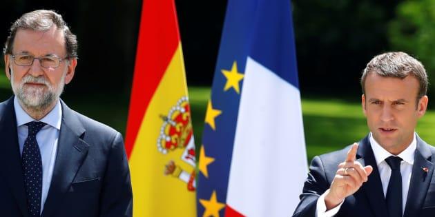 Le Président Emmanuel Macron et le Premier ministre Mariano Rajoy lors d'une conférence de presse à l'Elysée à Paris, le 16 juin 2017.