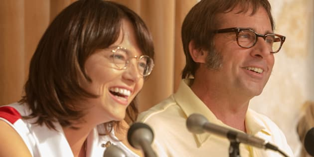 Emma Stone as Billie Jean King and  Steve Carell as Bobby Riggs in 'Battle of the Sexes'.