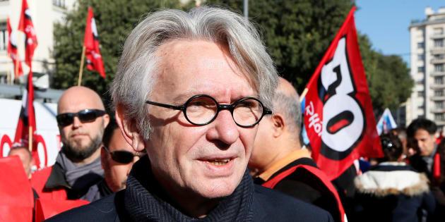 Jean-Claude Mailly, l'ancien secrétaire général de Force Ouvrière, lros d'une manifestation à Lyon le 10 octobre 2017.