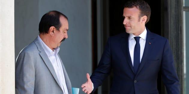 Emmanuel Macron et le secrétaire général de la CGT Philippe Martinez.