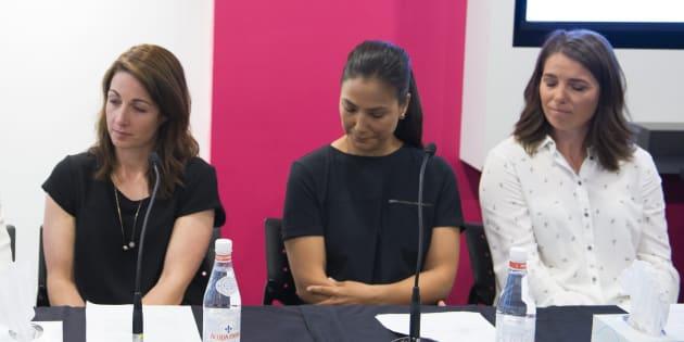 Photo d'archives de Gail Kelly, Anna Prchal et Geneviève Simard.