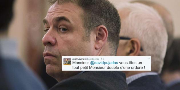 """Axel Loustau, un proche de Marine Le Pen mis en cause pour un salut nazi traite Pujadas """"d'ordure"""""""