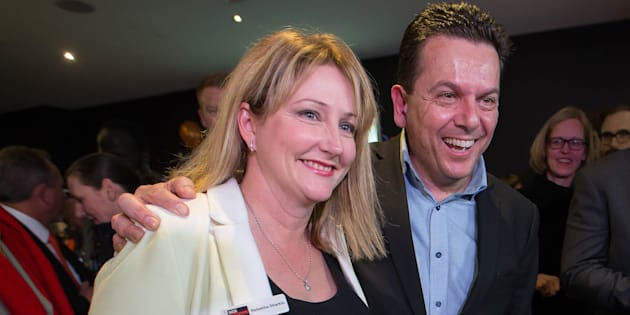 Nick Xenophon congratulates Rebekha Sharkie on her win in Mayo.