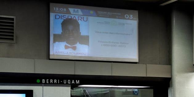 La photo d'Ariel Jeffrey Kouakou a été diffusée dans les stations du métro de Montréal, mardi.