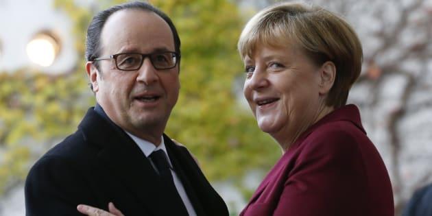 Le président de la République François Hollande et Angela Merkel à Berlin en novembre 2016.