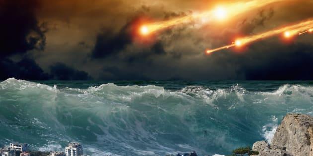 'Apocalyptic background - giant tsunami waves, small coastal town, city, asteroid impact'