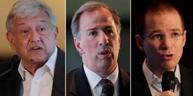 Los principales candidatos a la Presidencia de México: AMLO (Morena), Meade (PRI) y Anaya (PAN-PRD).