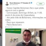 Filho de Bolsonaro convoca população para protesto no Rio de