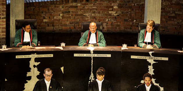 South African chief Justice Mogoeng Mogoeng leads a session of the Constitutional Court, on March 17, 2017, in Johannesburg.