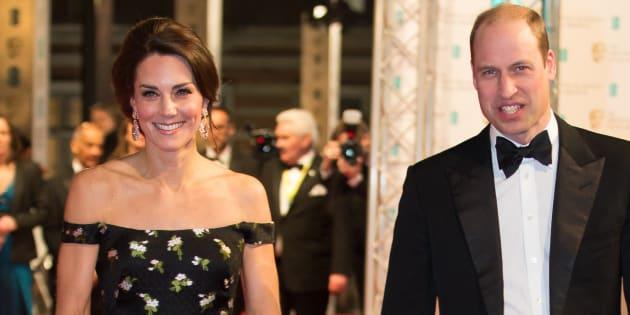 Le prince William, duc de Cambridge et la duchesse de Cambrigde Kate Middleton arrivent pour la 70ème cérémonie des Bafta.