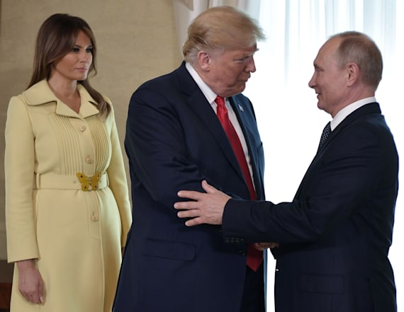 Melania seems to look horrified after meeting Putin