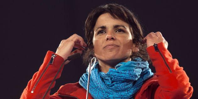 Teresa Rodríguez, en un acto electoral en Dos Hermanas (Sevilla), en 2015.