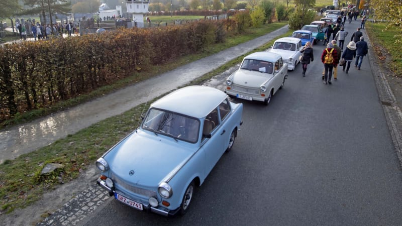Germans mark the fall of the Berlin Wall with a Trabant parade