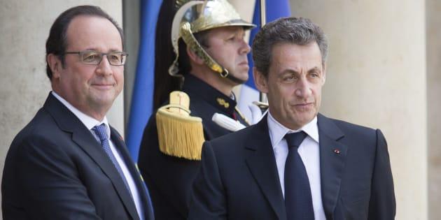 Francois Hollande et Nicolas Sarkozy sur le perron de l'Elysée, le 25 juin 2016. AFP PHOTO / GEOFFROY VAN DER HASSELT