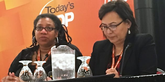 Kemlin Nembhard, left, and Sandra DeLaronde, commissioners who examined harassment in the Mantoba NDP speak about their findings at the party's annual convention in Brandon, Man. on Saturday, May 5, 2018.