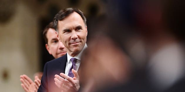 Finance Minister Bill Morneau gets an ovation after delivering the federal budget in the House of Commons in Ottawa on Tuesday, Feb. 27, 2018.
