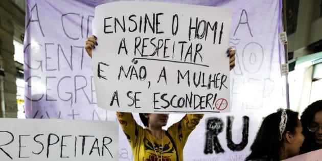 Protesto em 2014 em São Paulo contra assédio sexual.