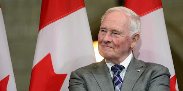 David Johnston looks on during a a farewell reception in Ottawa on Sept. 28, 2017.