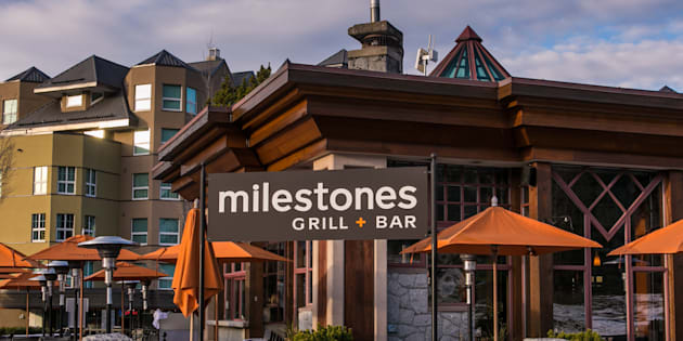 A Milestones restaurant is seen in Whistler, B.C. in 2013. Guillaume Rey, a former waiter at a Milestones in Vancouver, says he was fired because of his French culture.