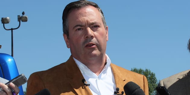 United Conservative Party Leader Jason Kenney meets with reporters at the Blackfoot Diner and Truck Stop, in Calgary, on July 13, 2018.