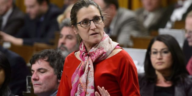 Minister of Foreign Affairs Chrystia Freeland stands during question period in the House of Commons on Parliament Hill in Ottawa on March 22, 2018.