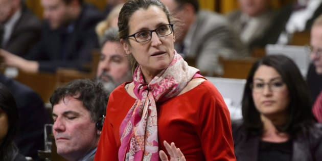 Minister of Foreign Affairs Chrystia Freeland stands during question period in the House of Commons on Parliament Hill in Ottawa.