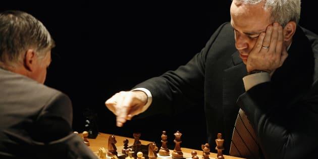 Garry Kasparov participe au tournoi Rapid and Blitz de Saint Louis, aux États-Unis.